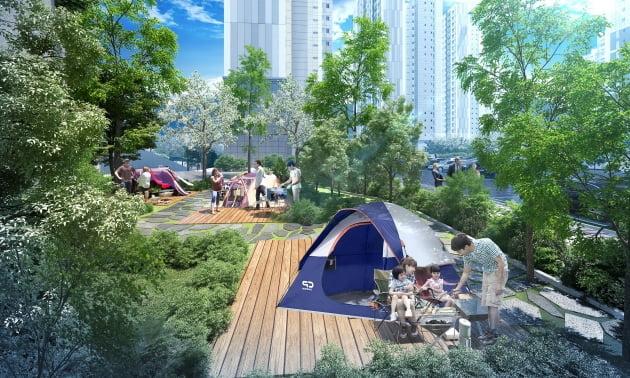 '두산위브더제니스 양산' 단지 내 캠핑장 (자료제공 : 두산건설)