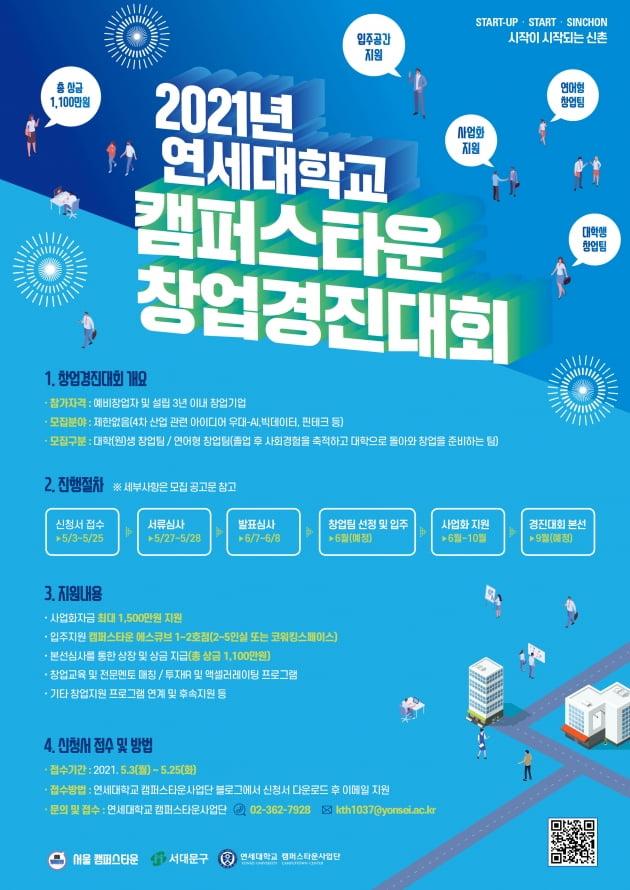 연세대 캠퍼스타운 창업경진대회 참가자 모집···5개팀에 총1100만원 지급