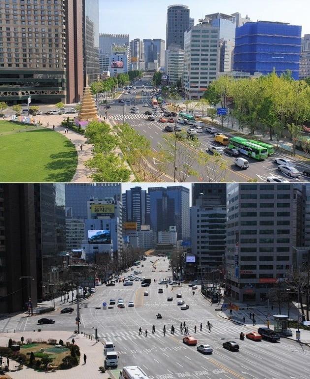 서울광장에서 바라본 숭례문 인근 도로 전경. 세종대로 사람숲길이 조성된 뒤(위쪽 사진)엔 이전(아래 사진)보다 차로가 줄고 보행공간이 넓어졌다. 서울시 제공