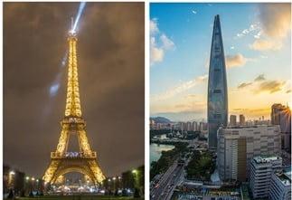 에펠탑(toureiffel.paris)과 롯데월드타워(pixabay.com/photos/lotte-world-tower-seoul-1791802/)