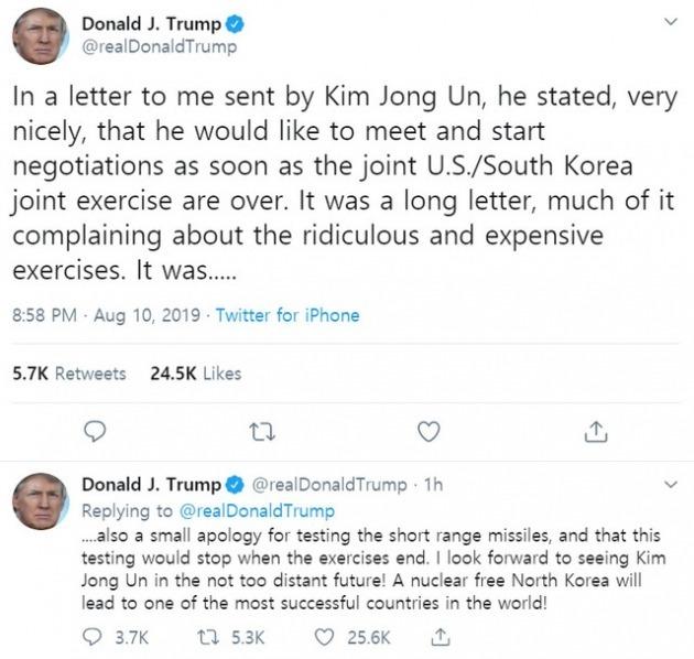 도널드 트럼프 전 미국 대통령이 지난 2019년 8월 10일 자신의 트위터에 올린 트윗. 김정은과의 친서 내용을 설명하며 한미 연합군사훈련 '터무니없고 비싼 훈련'으로 평가했다./ 트위터 캡처