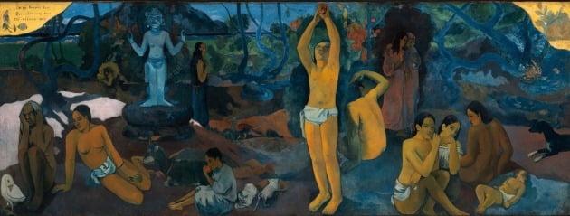 폴 고갱의 '우리는 어디에서 왔는가? 우리는 무엇인가? 우리는 어디로 가는가?'(1897). 보스턴 미술관