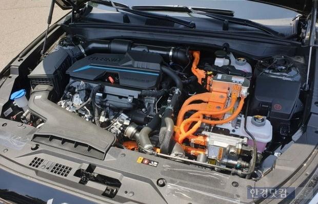 1.6 가솔린 터보 엔진 기반 하이브리드 파워트레인. 사진=오세성 한경닷컴 기자