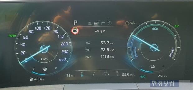 약 한 시간 주행에서 22.6km/L의 연비를 기록한 기아 K8 1.6 가솔린 터보 하이브리드. 사진=오세성 한경닷컴 기자