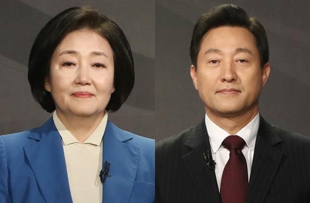 """박영선 전 장관이 오세훈 시장의 유치원 무상급식 관련 인터뷰에 대해 """"한 시대의 뒷자락을 움켜쥐고 있음을 고백하는 것""""이라고 비판했다. /사진=연합뉴스"""