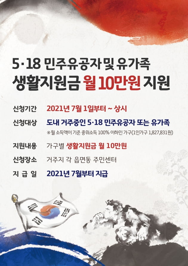 경기도, 전국 처음 '5.18 유공자와 유족에 생활지원금 지급'