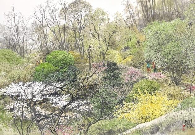봄의 기운-둘레길, 한지에 수묵 담채, 92×130cm, 2020년
