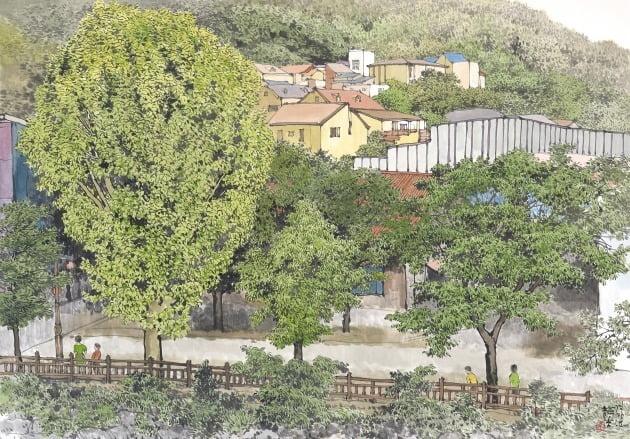 테라스에서 본 풍경, 한지에 수묵 담채, 92×130cm, 2020년