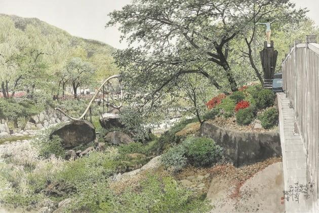 신록의 안양예술공원, 한지에 수묵 담채, 122×182cm, 2020년