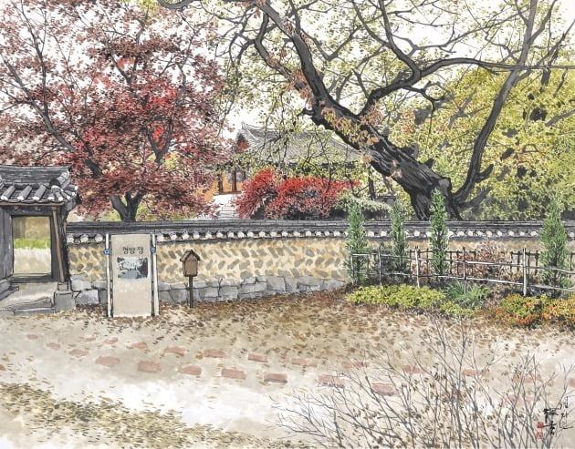 가을서정-청암정, 한지에 수묵 담채, 108×136cm, 2020년