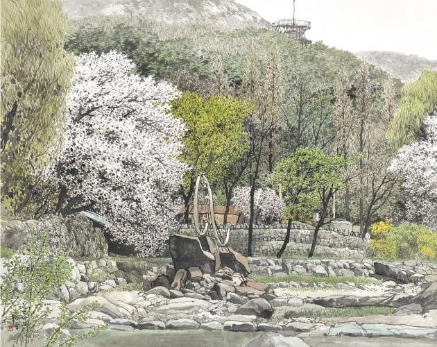 봄의 기운-안양예술공원, 한지에 수묵 담채, 120×145cm, 2020년