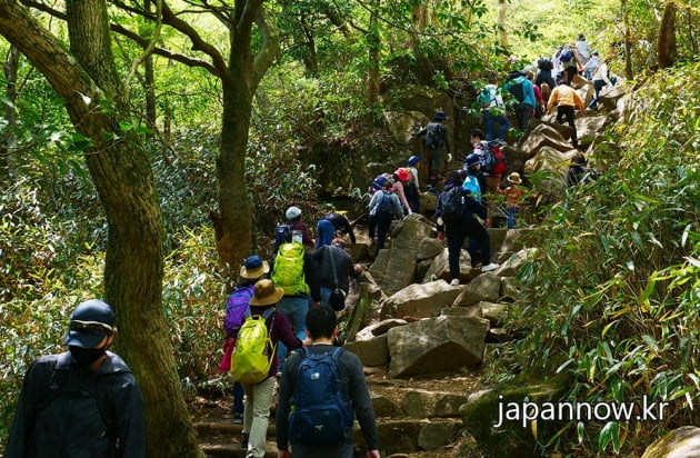 도쿄 위쪽의 도치기현 츠쿠바산에는 골든위크를 맞아 가족단위의 등산객들이 마스크를 착용한 채 산을 오르고 있다.