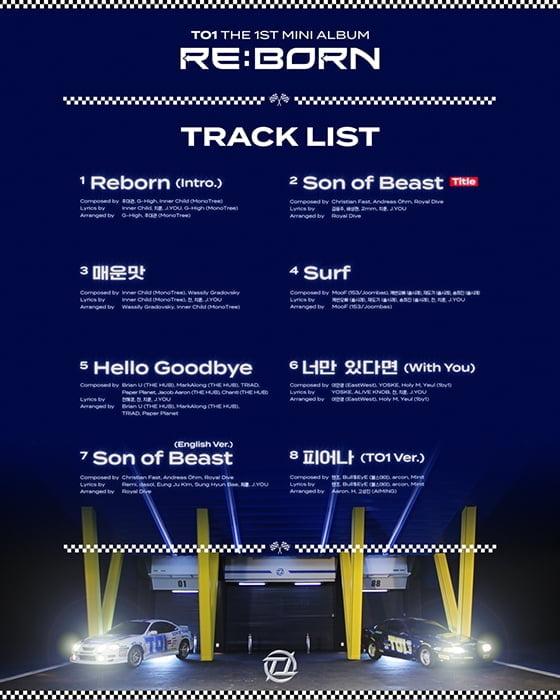 TO1(티오원), 미니 1집 'RE:BORN' 트랙리스트 공개…타이틀곡은 '썬 오브 비스트'