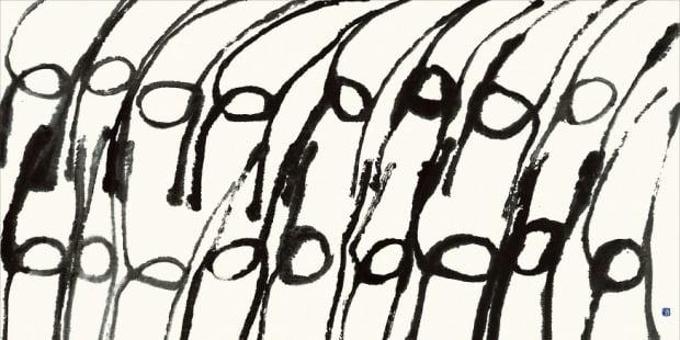 단순한 선으로 신명나는 군무를 표현한 서세옥의 '춤추는 사람들' /성북구립미술관 제공