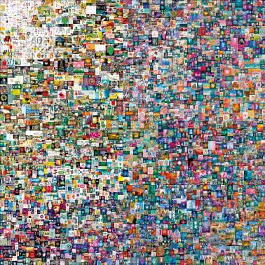 세계적 미술품 경매 장터인 크리스티 경매에서 지난 3월 6930만달러(약 780억원)에 팔린 작품. 블록체인 기반의 암호화 기술인 NFT(대체 불가능 토큰)가 적용된 첫 사례로 기록됐다.   한경DB