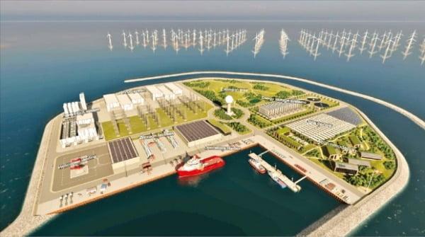 CIP가 2033년 조성을 목표로 참여하고 있는 세계 최초의 인공 에너지 섬 'VindØ 에너지 아일랜드' 조감도. 이 섬은 에너지 저장시설, 그린수소 생산시설을 비롯해 데이터센터와 숙박시설 등을 갖출 예정이다. CIP 제공