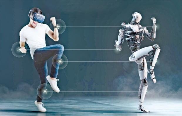 ① HTC '바이브 트래커 3.0' 손목과 다리에 장착한 트래커를 통해 사용자의 움직임이 가상현실(VR) 내 아바타에 반영된다.  HTC 제공