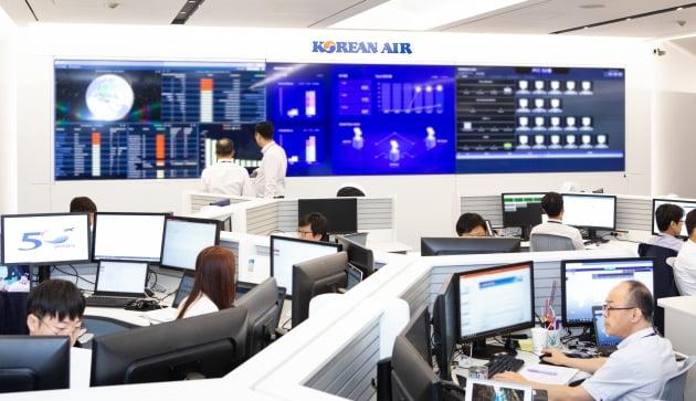 (사진) 대한항공의 보안 운용 등을 실시간 관제하는 서울 강서구 방화동의 '클라우드 커맨드센터'. /대한항공 제공
