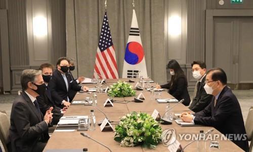 """미 국무부 """"블링컨-정의용, 한반도 비핵화 협력 의지 강조"""""""