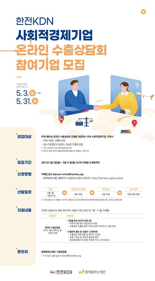 한전KDN, 온라인 수출상담회 참가 사회적기업 모집
