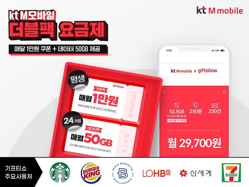 KT엠모바일, 월 2만원대에 매달 1만원 쿠폰·50GB 데이터 제공