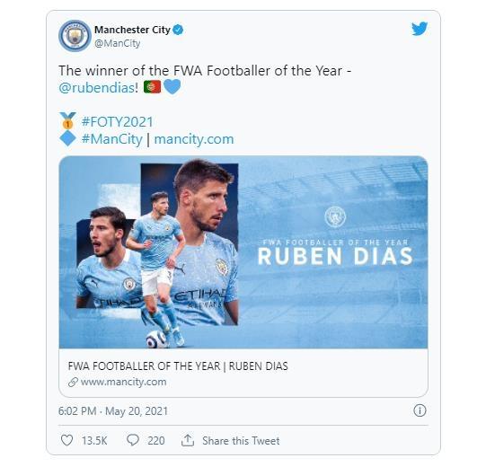 맨시티 디아스, 英축구기자협회 '올해의 선수'에 선정