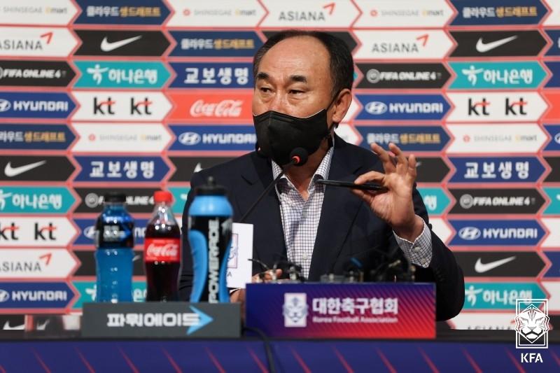 """김학범 감독 """"손흥민·황의조, 도쿄올림픽 도전 의지 있어"""""""