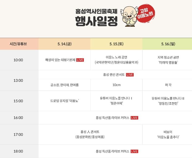 홍성역사인물축제 기념 라이브 커머스 방송 진행 선보여