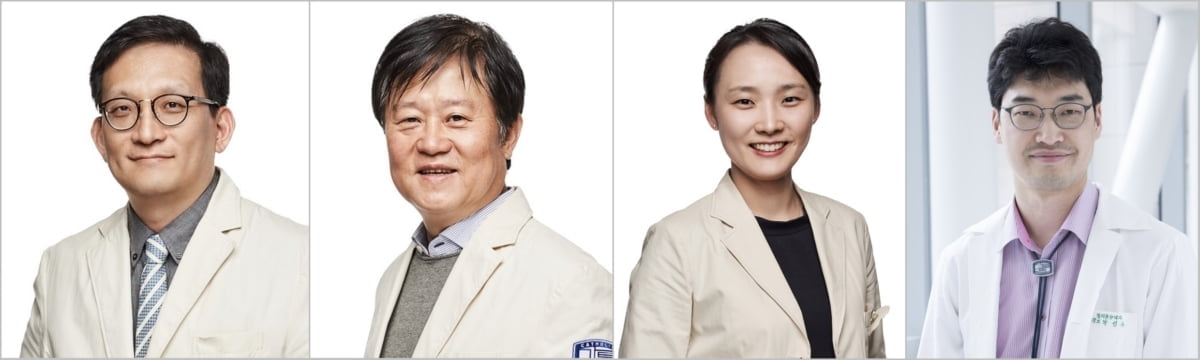 왼쪽부터 서울성모병원 감염관리실장 이동건 교수, 혈액병원장 김동욱 교수, 감염내과 조성연 교수, 혈액내과 박성수 교수