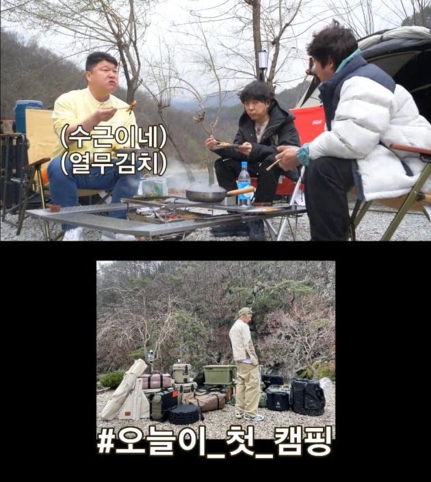 '스프링 캠프'의 OB팀(위)과 YB팀의 각기 다른 캠핑 스타일. / 사진=티빙 '스프링 캠프' 캡처