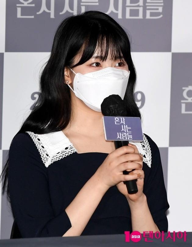 배우 정다은이 11일 열린 영화 '혼자 사는 사람들' 언론시사회에 참석했다. / 조준원 기자 wizard333@