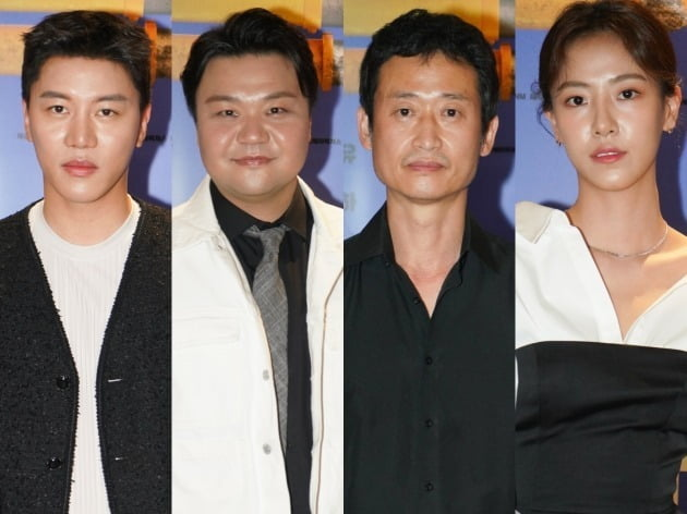 배우 음문석(왼쪽부터), 태항호, 유승목, 배다빈이 20일 열린 영화 '파이프라인' 언론시사회에 참석했다. / 사진제공=메가박스중앙㈜플러스엠, 리틀빅픽처스