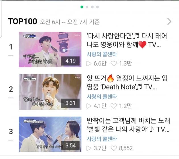 '네이버도 평정' 임영웅, 네이버tv 1~3위 '싹쓸이'