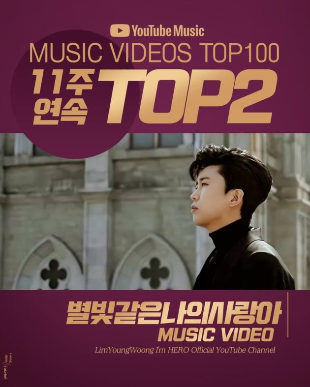 임영웅 '별빛 같은 나의 사랑아' 유튜브 인기 뮤직비디오 11주 연속 톱2