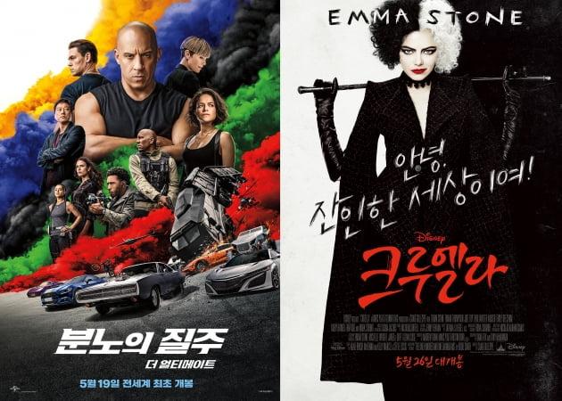 '분노의 질주: 더 얼티메이트', '크루엘라' 포스터./
