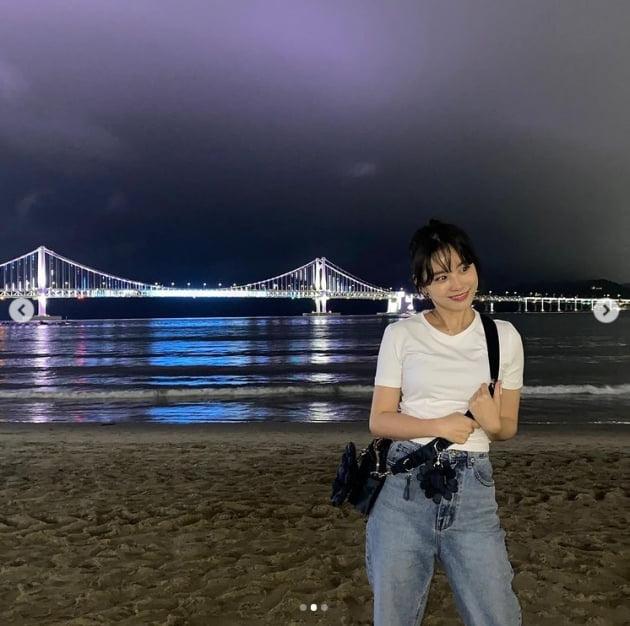 '이시언♥' 서지승, 부산 바닷가를 빛낸 미모 [TEN★]