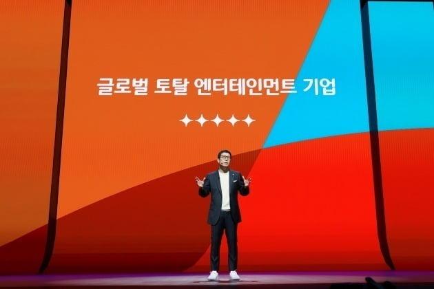 31일 오전 CJ ENM과 티빙(TVING)의 미래 비전과 성장 전략을 소개하는 CJ ENM 비전 스트림이 서울 상암동 CJ ENM센터와 온라인 스트리밍을 통해 온오프라인으로 동시 진행됐다. 사진은 강호성 CJ ENM 대표. / 사진제공=CJ ENM