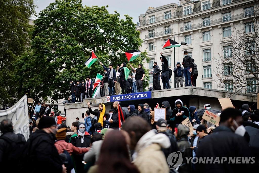 유럽 곳곳서 팔레스타인 연대 집회…일부 경찰과 충돌