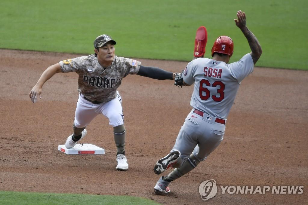 김광현, 시즌 2승 실패…김하성에 삼진·밀어내기 볼넷