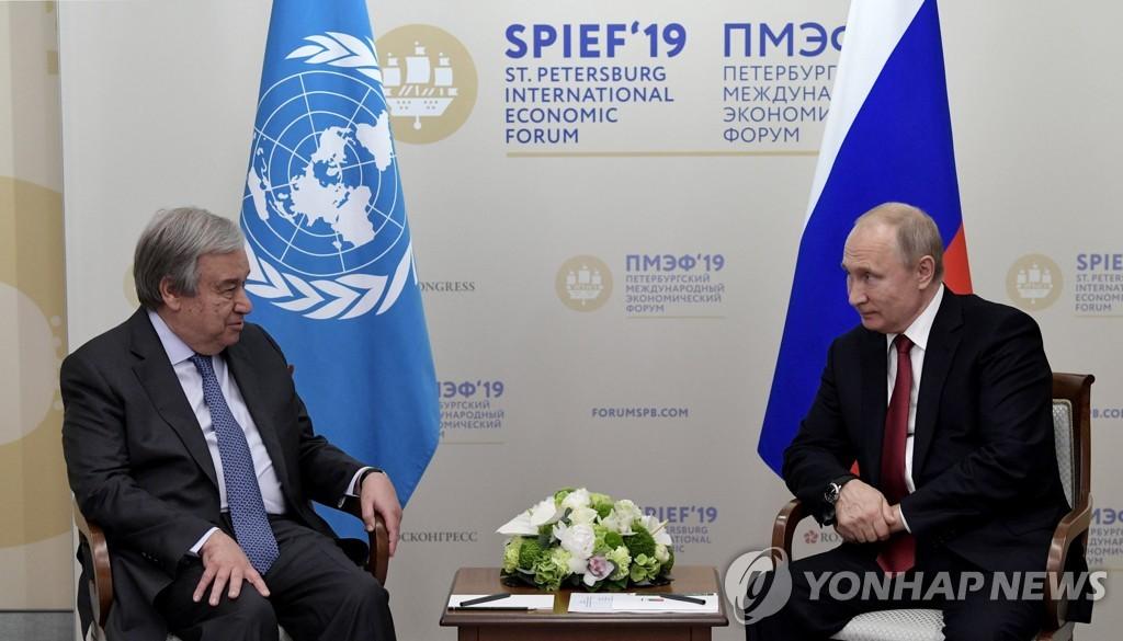 푸틴-유엔 총장, 이스라엘-팔레스타인에 무력분쟁 중단 촉구