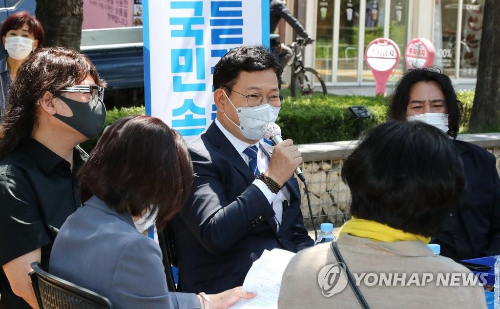 송영길, '직장인 파라솔 만남'으로 민심 경청주간 마무리
