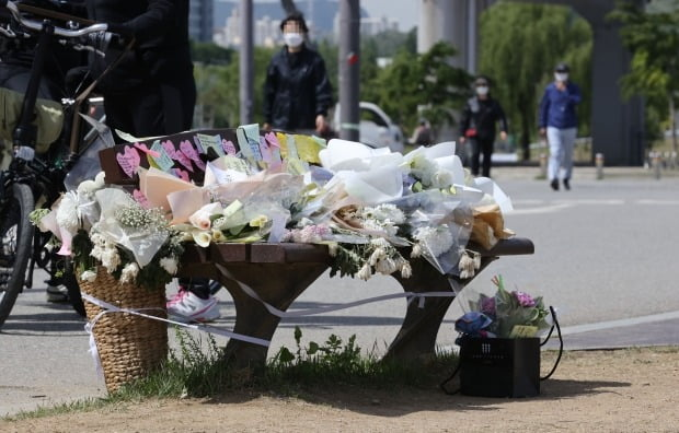 11일 오전 서울 서초구 반포한강공원 택시승강장 앞에 사망한 손 씨를 추모하는 국화꽃이 놓여있다. 사진=연합뉴스