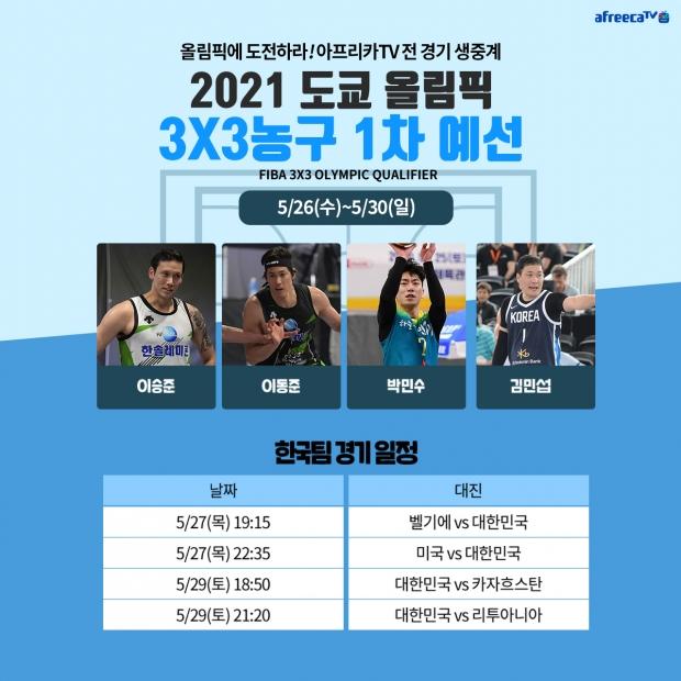 아프리카티비(TV), '제32회 도쿄올림픽 3X3농구 1차 예선' 전경기 생중계