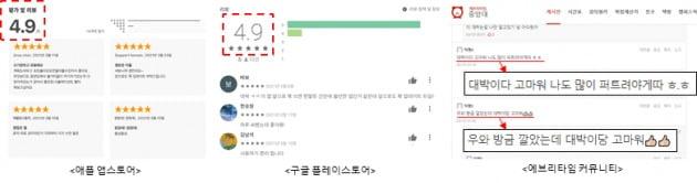 △커뮤니티와 앱 스토어에 올라온 사용자들의 후기.