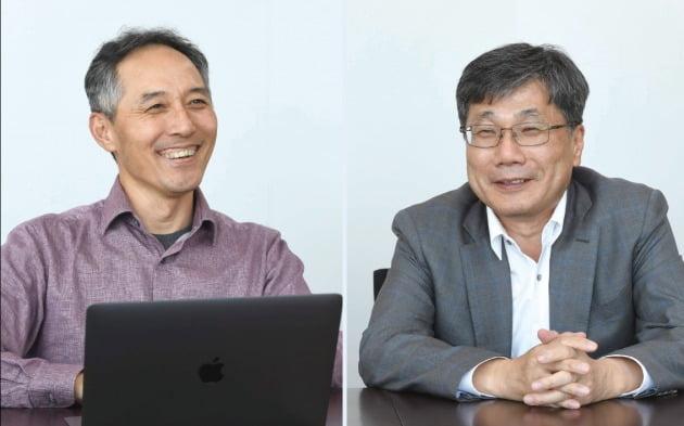 정신 올리패스 대표(오른쪽)와 이정규 브릿지바이오테라퓨틱스 대표 / 사진=신경훈 기자