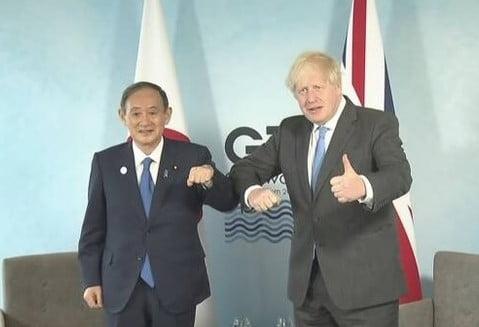 스가 일본 총리와 보리스 영국 총리/사진=NHK 홈페이지 캡처