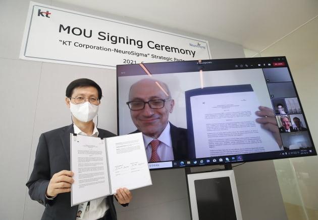 14일 화상회의 형식으로 열린 업무협약식에서 김형욱 KT 미래가치추진실장(부사장·사진 왼쪽)과 레온 액치안 뉴로시그마 CEO가 기념사진을 찍고 있다. KT 제공