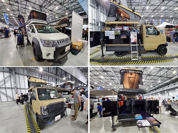 '도쿄캠핑카쇼 2021'에 출품된 캠핑카. 초심자와 여성들의 관심이 높아지면서 캠핑카 제조업체도 운전하기 편하면서 여행과 생활을 병행할 수 있는 중저가 모델을 집중 개발했다. 도쿄=정영효 특파원
