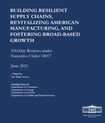 미국의 4대 품목 공급망점검 최종보고서. (자료 = 백악관, 2021.6)