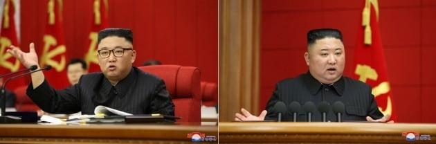 왼쪽은 김정은 북한 국무위원장이 15일 북한 노동당 전원회의를 주재하는 모습. 오른쪽은 김정은이 지난 3월 6일 제1차 시·군당 책임비서 강습회에서 폐강사를 하던 모습. 세 달 새 김정은 체중의 확연한 차이를 확인할 수 있다./ 연합뉴스